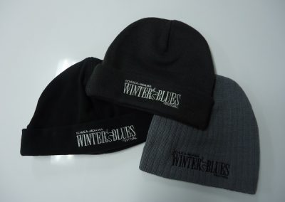 Embroidered beanies.