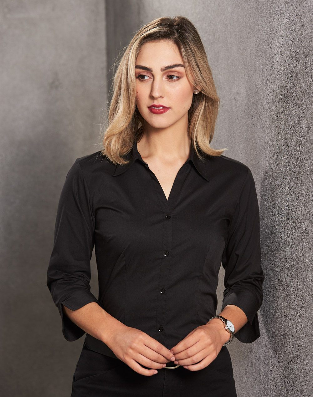 BS07Q Women's Teflon Executive 3/4 Sleeve Shirt