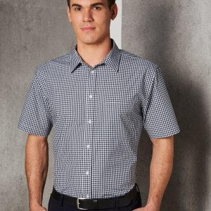 M7300S Men's Gingham Check Short Sleeve Shirt