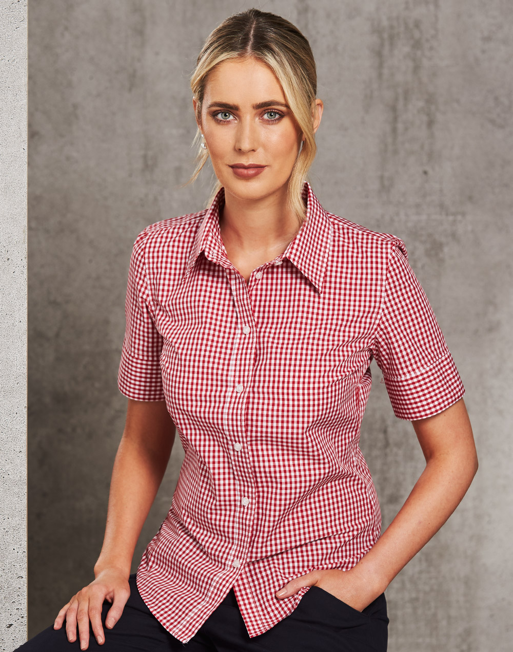 M8300S Ladies' Gingham Check Short Sleeve Shirt