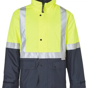 SW28A HI-VIS TWO TONE RAIN PROOF JACKET WITH QUILT LINING