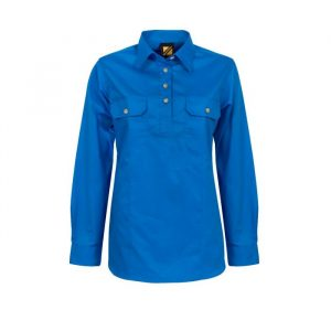 Ladies Lightweight Long Sleeve Half Placket Cotton Drill Shirt with Contrast Buttons-wsl505